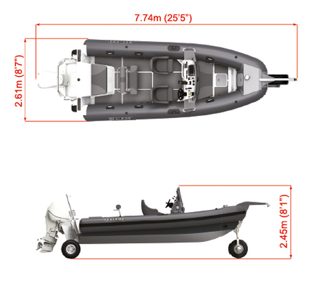Sealegs 7.7m Full Width Console Dimensions